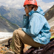 Stock Photo: Mountaineer girl in helmet
