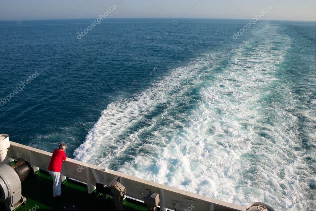 Alone man aboard a cruise liner — Stock Photo #1693962