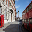 London telephone and  double-decker bus - Stock Photo