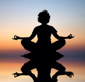 Evening yoga meditation — Stock Photo