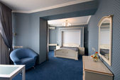 Blue bedroom interior — Stockfoto