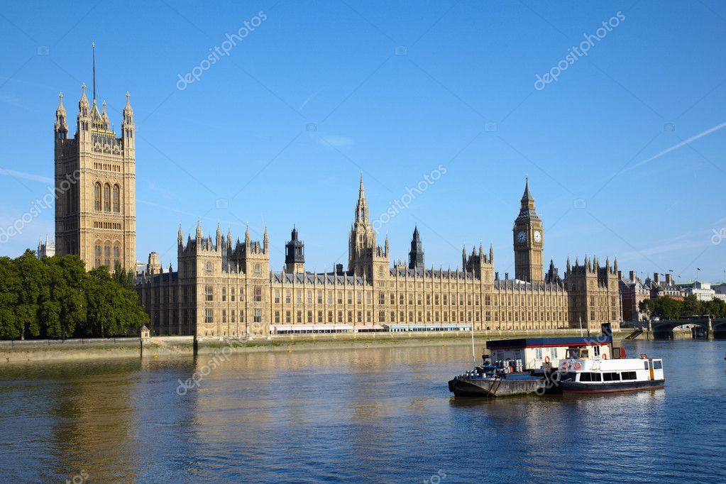 Boat on Thames river in Parliament  Stock Photo #1807052