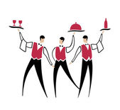 Three funny waiters — Stock Vector