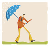 Man with umbrella — Stock Vector