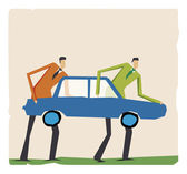 Men with car — Stock Vector