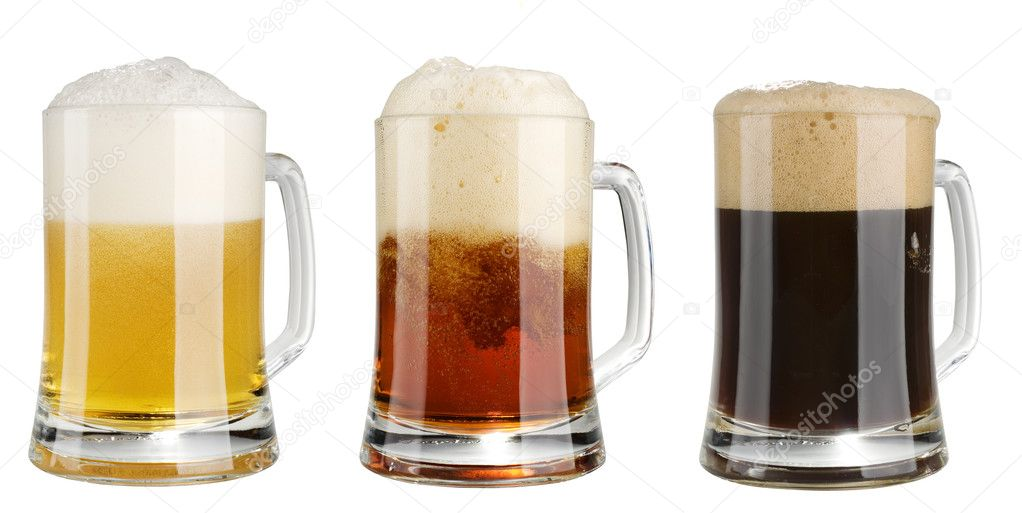Three mugs of multicolor alcohol beer isolated  over white background — Photo #1482828