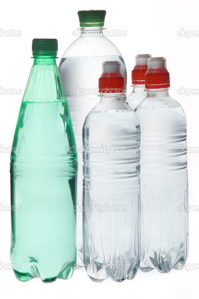 Group of mineral  soda water bottles isolated over white background  Stock Photo #1587300