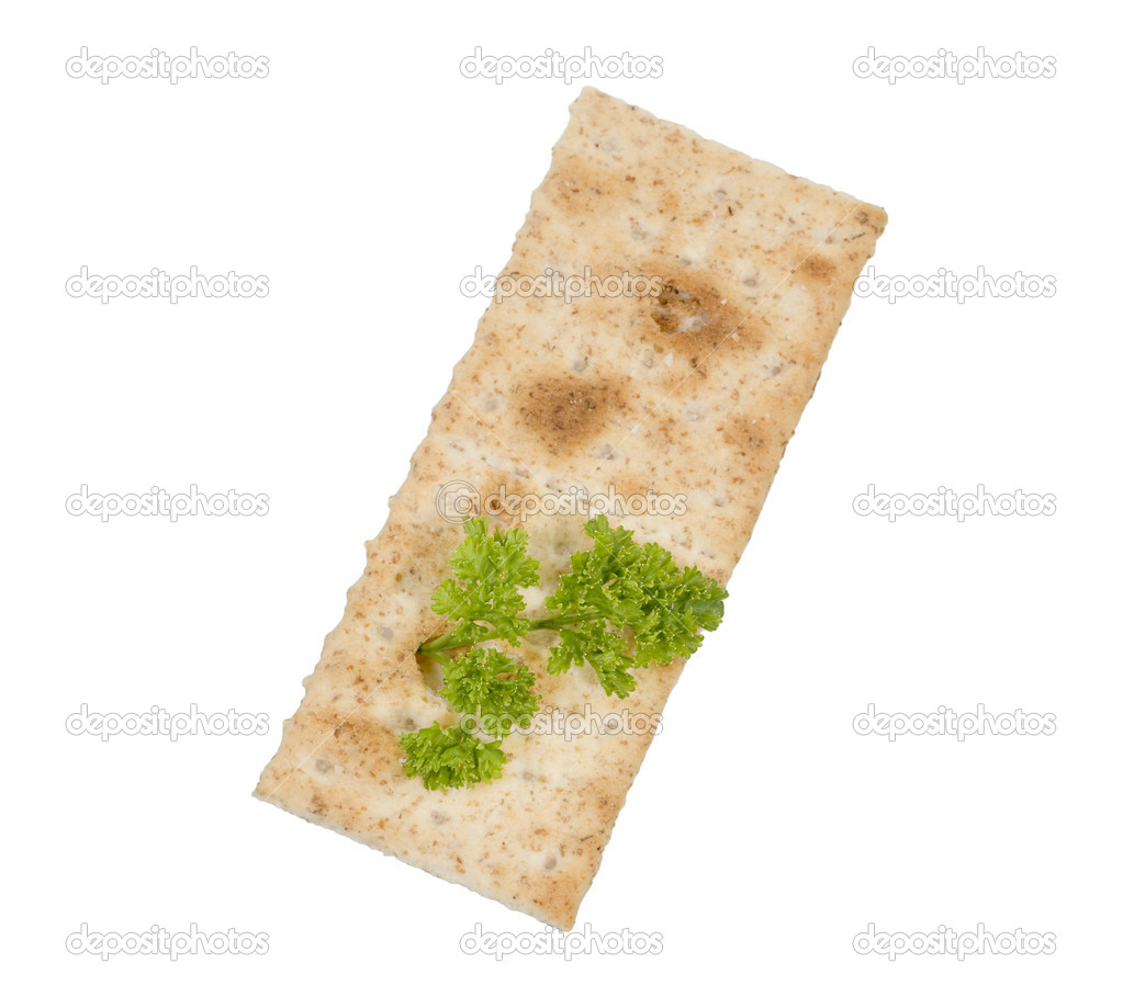 Cracker food isolated over white background with parsley — Stock Photo #1587363