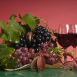 Stock Photo: Red wine and grape close-up