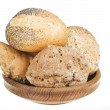 Fresh bread food over white background — Stock Photo