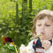 Beautiful child boy blowing to flower — Stock Photo