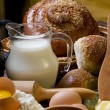 Stock Photo: Jug of milk with bread