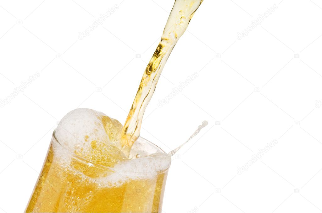 Alcohol light beer with froth and bubbles  pouring into a glass isolated over white. — Stock Photo #1642731