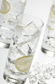 Glasses objects with soda water — Stock Photo