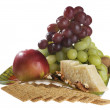 Apple, grape, nuts and cheese — Stock Photo