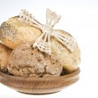 Fresh bread food over white — Stock Photo