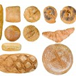 Bread food set over white - Stock Photo
