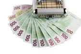 Euro money in a box — Stock Photo