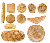 Bread food set over white — Stock Photo