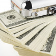 Stock Photo: One hundred dollar bills in a box