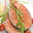 Raw salmon steak with herbs - Stock Photo