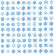 Set of 100 unique, blue snowflakes — Stock Photo #1483925