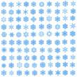 Set of 100 unique, blue snowflakes — Stock Photo
