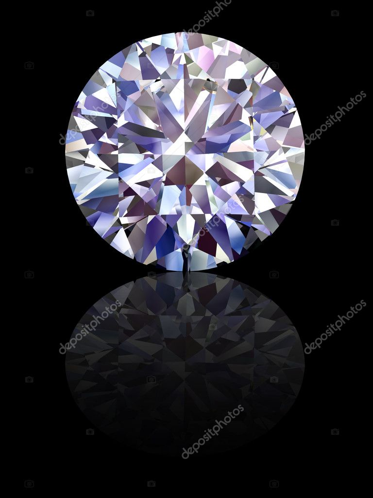 Diamond on glossy black background. High resolution 3D render with reflections  Stock Photo #1483852