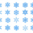 Set of 20 blue snowflakes - Stock Photo