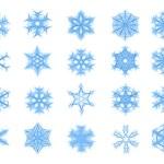 Set of 20 blue snowflakes — Stock Photo