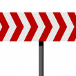 Red and white direction sign - Stock Photo