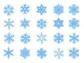 Set of 20 blue snowflakes — Stock Photo