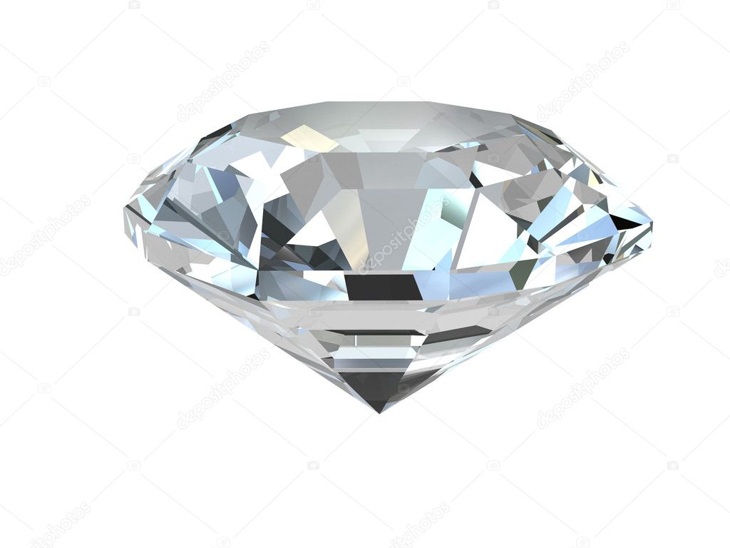 Diamond isolated on white background. High resolution 3D render — 图库照片 #2066318