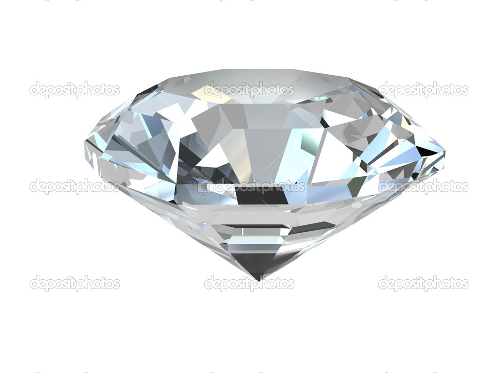 Diamond isolated on white background. High resolution 3D render — Lizenzfreies Foto #2066318