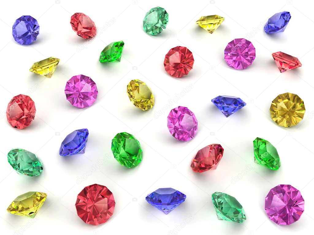 Several multi-coloured faceted gemstones rendered with soft shadows. High resolution 3D image — Stock Photo #2066489