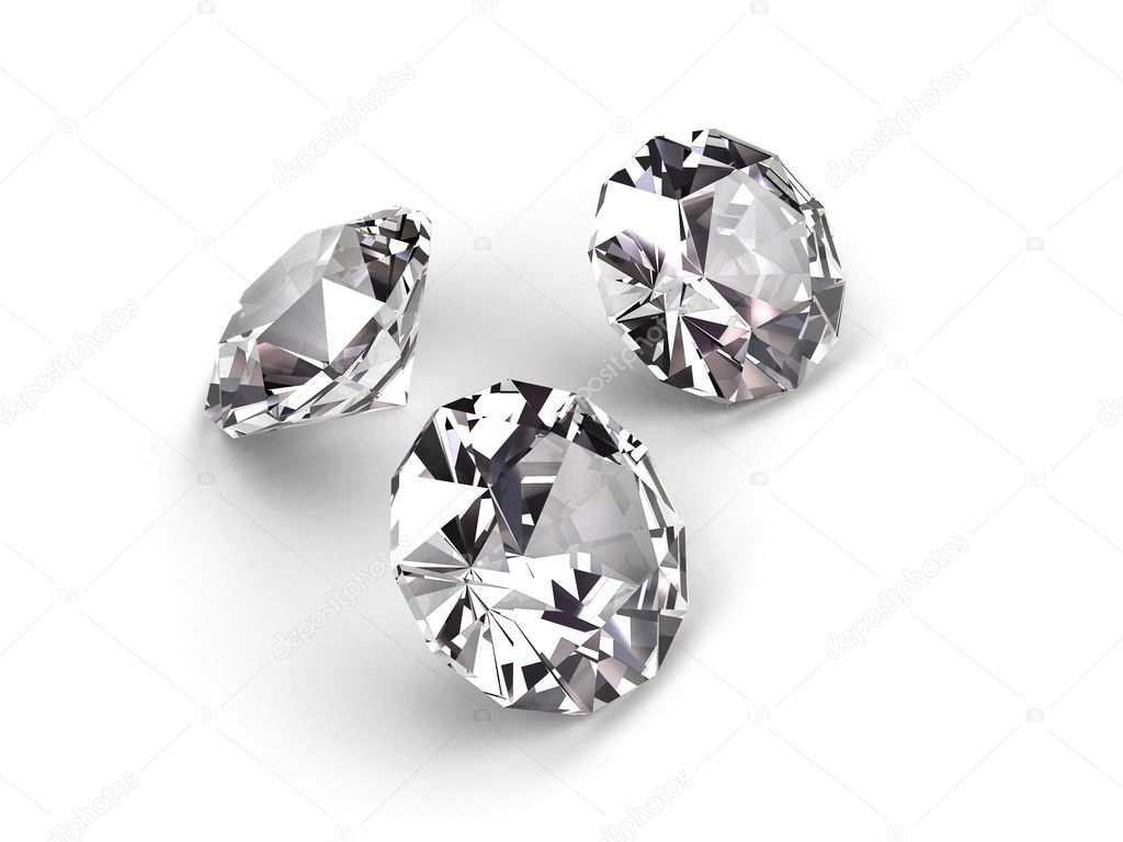Three diamonds on white background. High resolution 3D render — Stock Photo #2066550