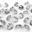 Stock Photo: Several diamonds with soft shadows