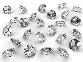 Varios diamantes con sombras suaves — Foto de Stock