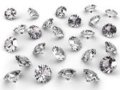 Vários diamantes com sombras suaves — Foto Stock