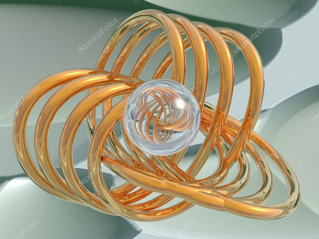 The abstract image of a gold spirals and a glass sphere. High resolution 3D background. — Stock Photo #2122485