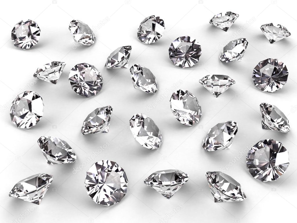 Several diamonds with realistic soft shadows on white. High resolution 3D image — Stock Photo #2122569