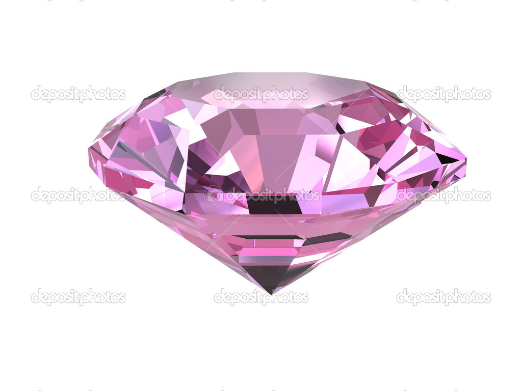 Pink diamond isolated on white background. High resolution 3D render — Stock Photo #2122592