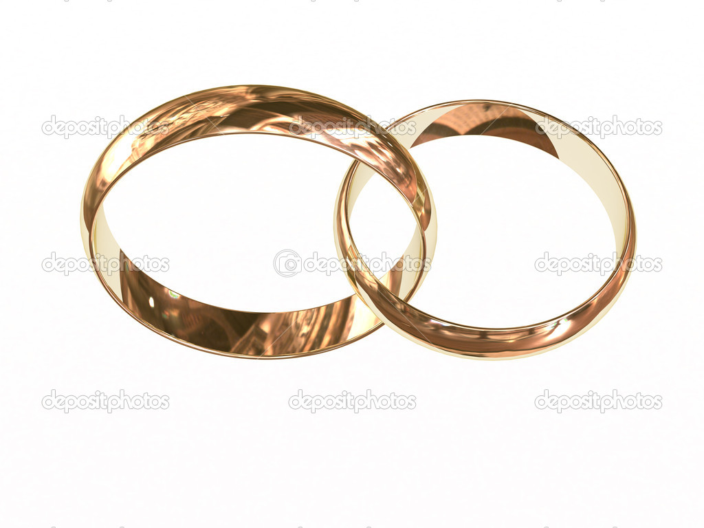 Gold wedding rings chained together isolated on white. High resolution 3D image.  Stock Photo #2170372