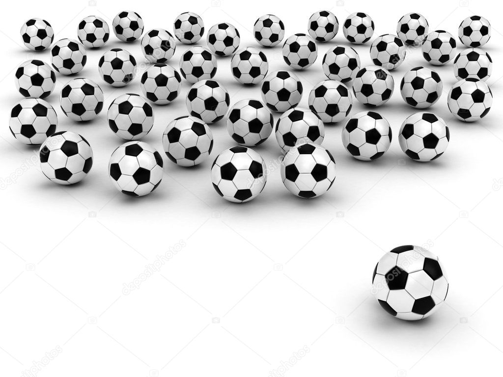 Soccer balls on white background rendered with soft shadows. High resolution 3D image. — Stock Photo #2170472