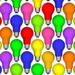 Lightbulbs background of rainbow colours — Stock Photo