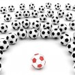 Stock Photo: Soccer balls around team leader