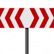 Red and white different direction sign - Stock Photo
