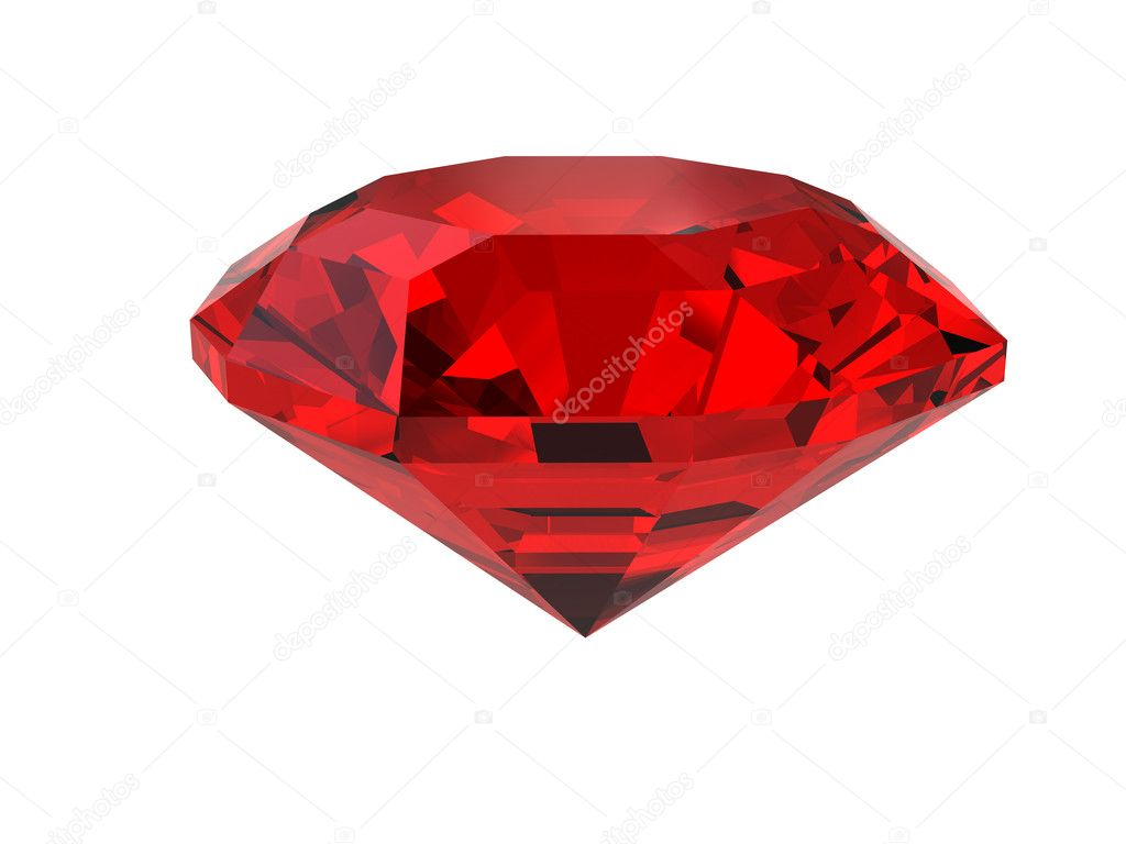 Dark-red gemstone isolated on white. High resolution 3D image.  Stock Photo #2409280