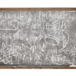 Equations on the old style blackboard - Stock Photo