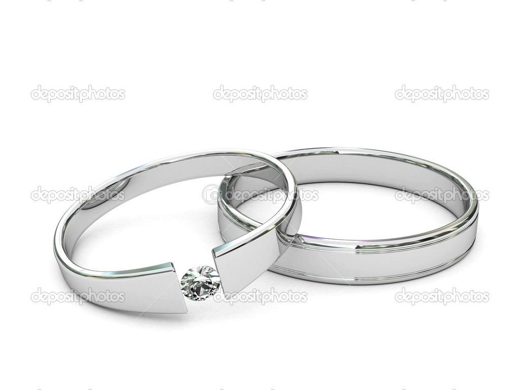 Platinum or silver rings with diamond on white background. High resolution 3D image. — Stock Photo #2440823
